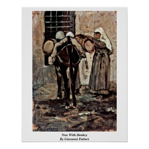 Nun With Donkey By Giovanni Fattori Poster