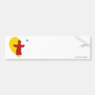 Nunavut Flag Heart Car Bumper Sticker