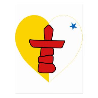 Nunavut Flag Heart Postcard