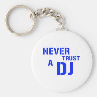 Nunca confíe en a DJ - música del disc jockey Llavero Redondo Tipo Pin