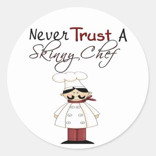 Nunca confíe en a un cocinero flaco pegatina redonda