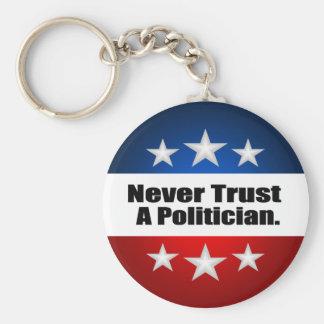 Nunca confíe en a un político llavero redondo tipo pin