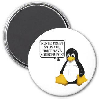 ¡Nunca confíe en que un OS usted no tiene fuentes  Imán Redondo 7 Cm