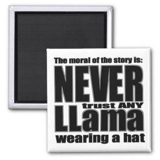 Nunca confíe en una llama en un gorra imán cuadrado