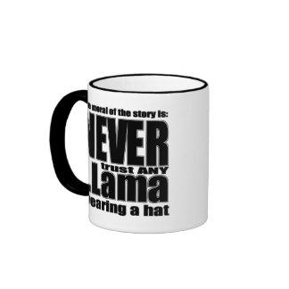 Nunca confíe en una llama en un gorra taza de café