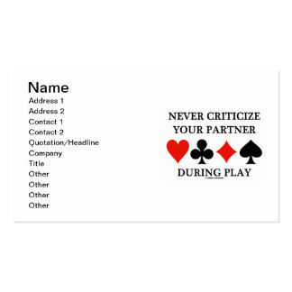 Nunca critique a su socio durante el juego (el pue plantilla de tarjeta de visita