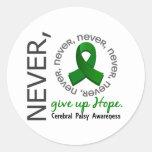 Nunca dé para arriba a esperanza la parálisis cere etiquetas redondas