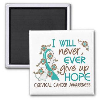 Nunca dé para arriba al cáncer de cuello del útero imán cuadrado
