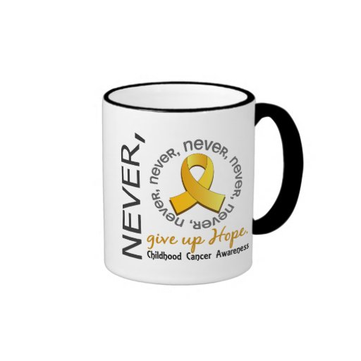 Nunca dé para arriba al cáncer de la niñez de la e taza de café