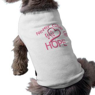 Nunca dé para arriba al cáncer de pecho de la espe camiseta de mascota
