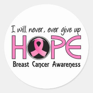 Nunca dé para arriba al cáncer de pecho de la pegatina redonda