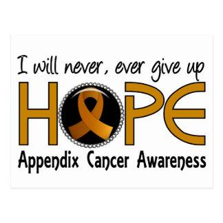 Nunca dé para arriba al cáncer del apéndice de la tarjetas postales