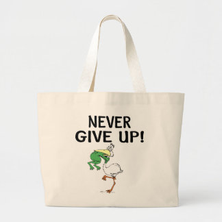 Nunca dé para arriba bolsas lienzo