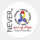 Nunca dé para arriba el autismo de la esperanza etiquetas