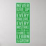 Nunca dé para arriba el poster de motivación