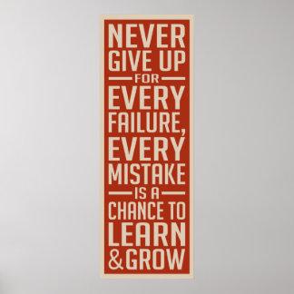 Nunca dé para arriba el poster de motivación póster