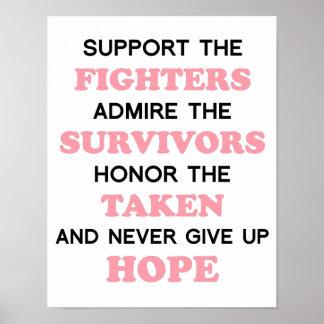 Nunca dé para arriba el poster del cáncer de pecho póster