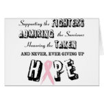 Nunca dé para arriba - el rosa tarjetas