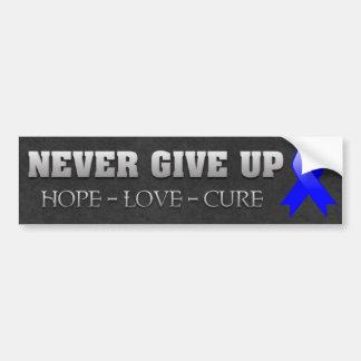 Nunca dé para arriba la conciencia del cáncer de c pegatina de parachoque