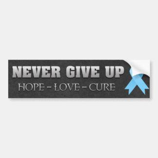 Nunca dé para arriba la conciencia del cáncer de p pegatina de parachoque