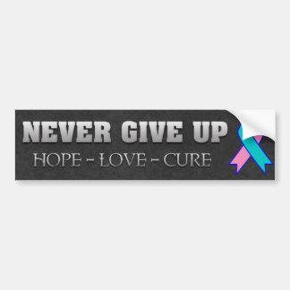 Nunca dé para arriba la conciencia del cáncer de t pegatina para auto