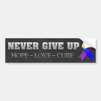 Nunca dé para arriba la conciencia del cáncer de v pegatina para auto