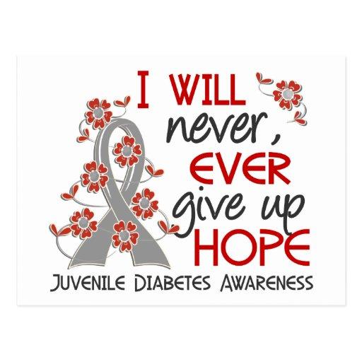 Nunca dé para arriba la diabetes juvenil de la esp tarjetas postales
