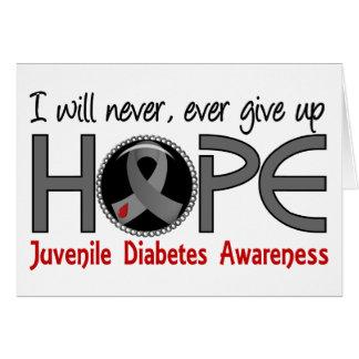 Nunca dé para arriba la diabetes juvenil de la tarjeta de felicitación