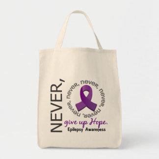 Nunca dé para arriba la epilepsia de la esperanza bolsas de mano