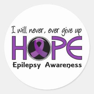 Nunca dé para arriba la epilepsia de la esperanza pegatina redonda