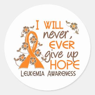 Nunca dé para arriba la leucemia de la esperanza 4 pegatina redonda