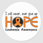 Nunca dé para arriba la leucemia de la esperanza 5 pegatina redonda