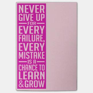 Nunca dé para arriba las notas de post-it de motiv nota post-it