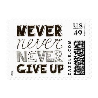 Nunca dé para arriba sellos postales