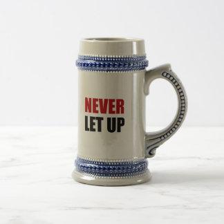 Nunca deje para arriba jarra de cerveza