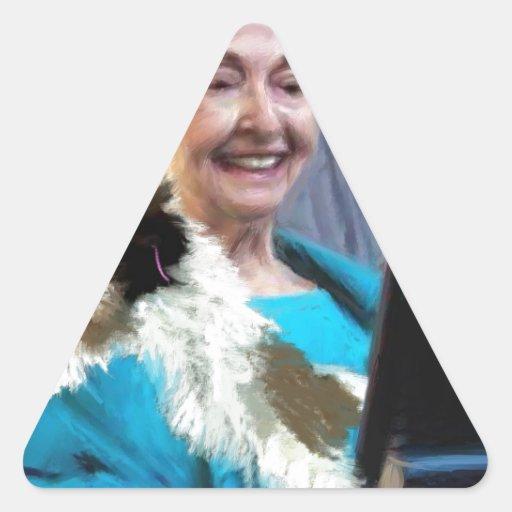 nunca demasiado viejo pegatina triangular