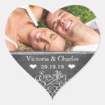 Nunca después de reserva del boda de la pizarra el pegatina corazón personalizadas