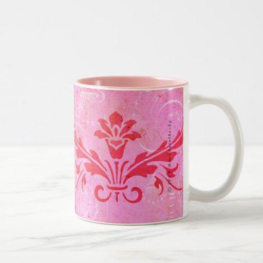 Nunca después de taza rosada del damasco