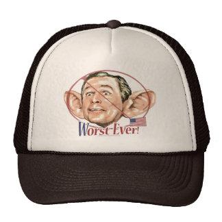 Nunca el presidente peor Anti Bush Gear Gorro De Camionero