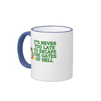 Nunca es demasiado atrasado escapar las puertas de taza