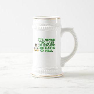 Nunca es demasiado atrasado escapar las puertas jarra de cerveza