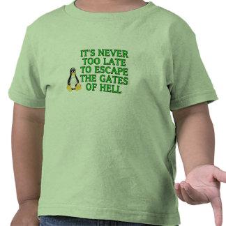 Nunca es demasiado atrasado escapar las puertas camiseta
