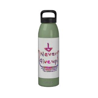 Nunca giveup - presentación de motivación artístic botellas de agua reutilizables