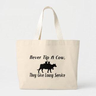 Nunca incline una vaca bolsa tela grande