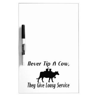 Nunca incline una vaca pizarra blanca
