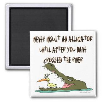 Nunca insulte un humor del cocodrilo imán cuadrado