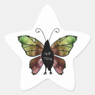 Nunca más cuervo de la mariposa pegatinas forma de estrella personalizadas