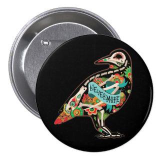 Nunca más cuervo del cráneo del azúcar pin redondo de 3 pulgadas