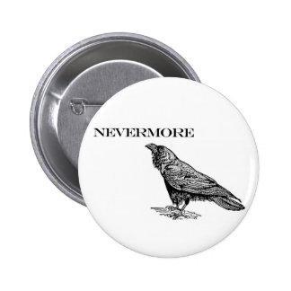 Nunca más cuervo pin redondo de 2 pulgadas