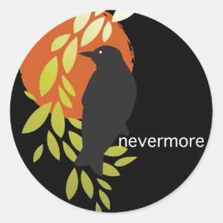 Nunca más - cuervo y luna por el Poe Pegatinas Redondas